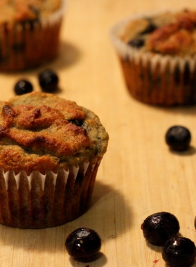Coconut Flour Banana Blueberry Muffins