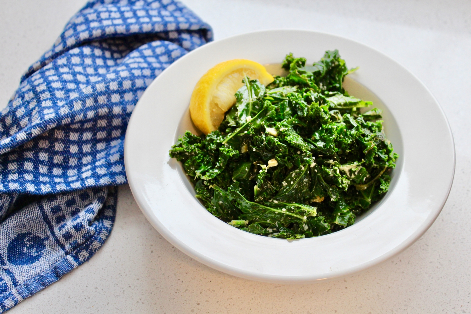Warm Lemon Garlic Kale with Parmesan