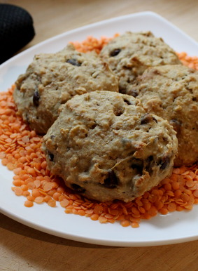 Lentil, Oat and Chocolate Chip Cookies